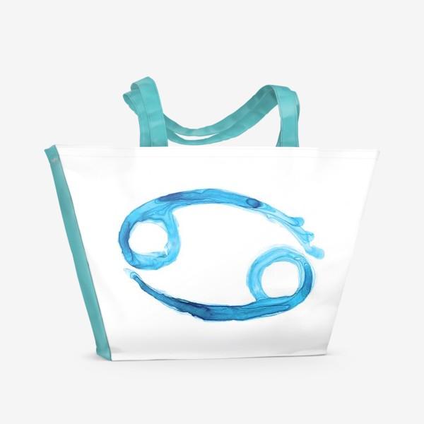 Пляжная сумка «Рак - знак зодиака акварелью»