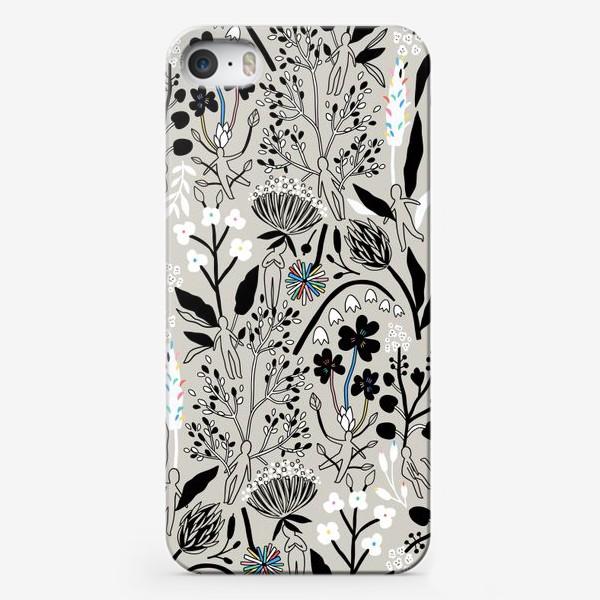 Чехол iPhone «Летние дикие травы и человечки»