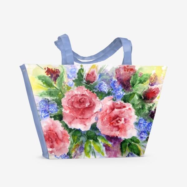 Пляжная сумка «Букет с розами»