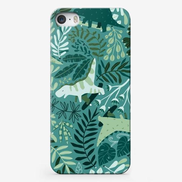 Чехол iPhone «Динозавры на скейтбордах в джунглях. Летний паттрен. Тропические растения, листья монстеры, пальмы.»