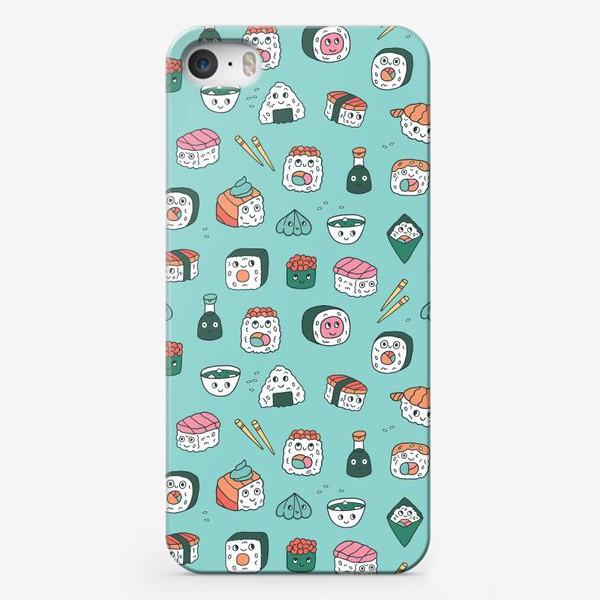 Чехол iPhone «Кавайные суши. Японская еда. Роллы, васаби и сашими.»