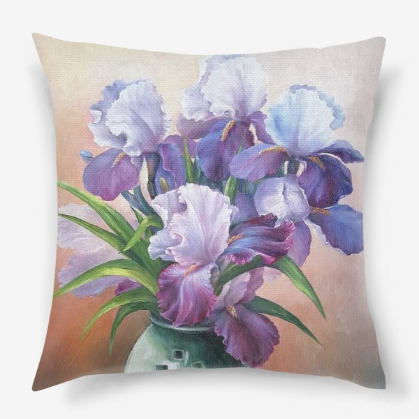 Подушка « букет весенних цветов ирисов»