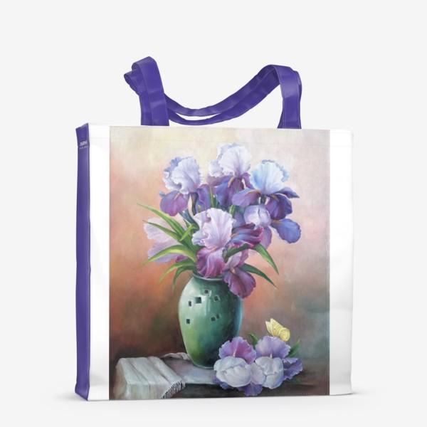 Сумка-шоппер « букет весенних цветов ирисов»