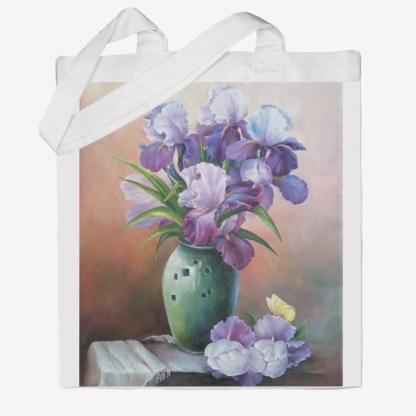 Сумка хб « букет весенних цветов ирисов»