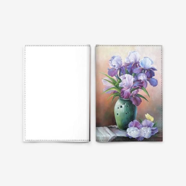 Обложка для паспорта « букет весенних цветов ирисов»