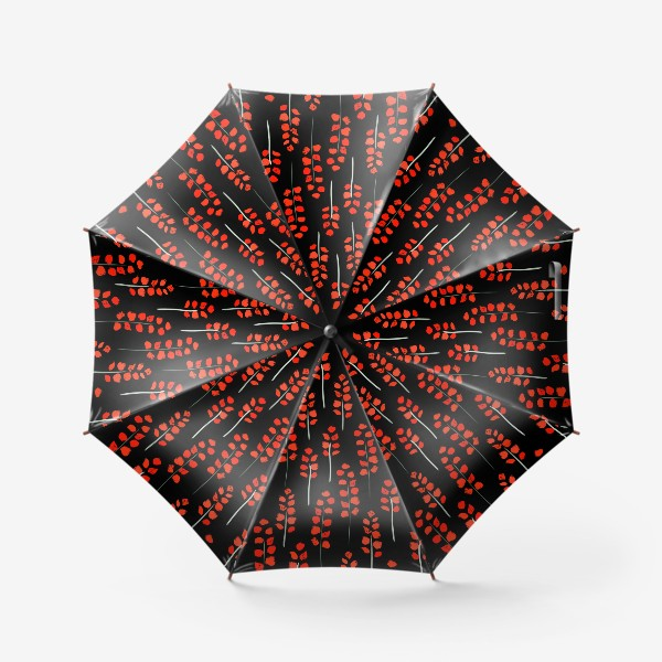 Зонт «веточки на  чёрном»