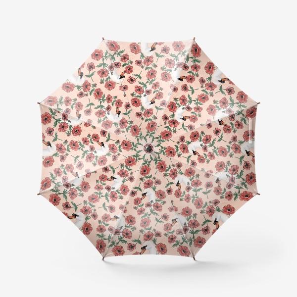 Зонт «Лебедь с анемонами на бежевом »