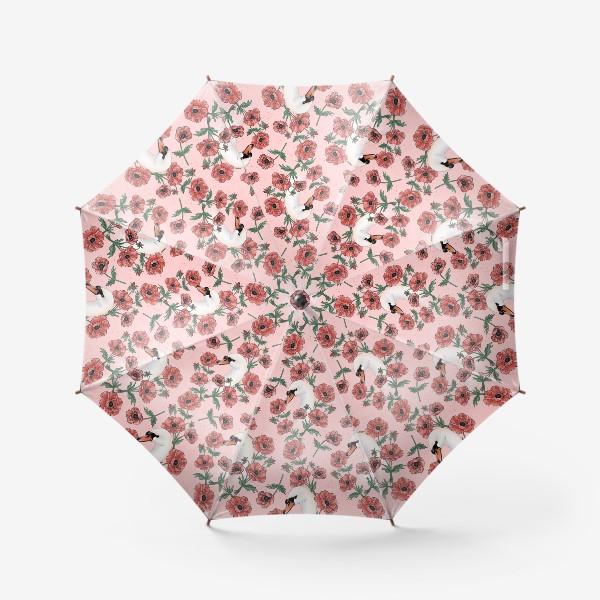 Зонт «Лебедь с анемонами на розовом »