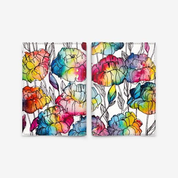 Обложка для паспорта «Цветы радуги»