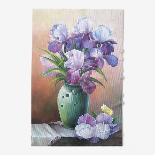 Полотенце « букет весенних цветов ирисов»