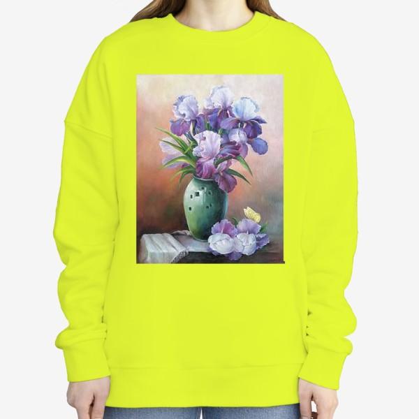 Свитшот « букет весенних цветов ирисов»