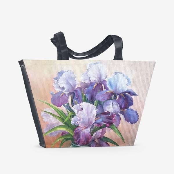 Пляжная сумка « букет весенних цветов ирисов»