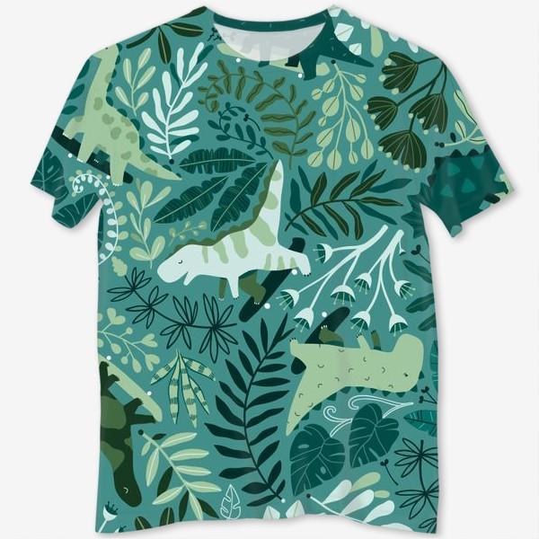 Футболка с полной запечаткой «Динозавры на скейтбордах в джунглях. Летний паттрен. Тропические растения, листья монстеры, пальмы.»