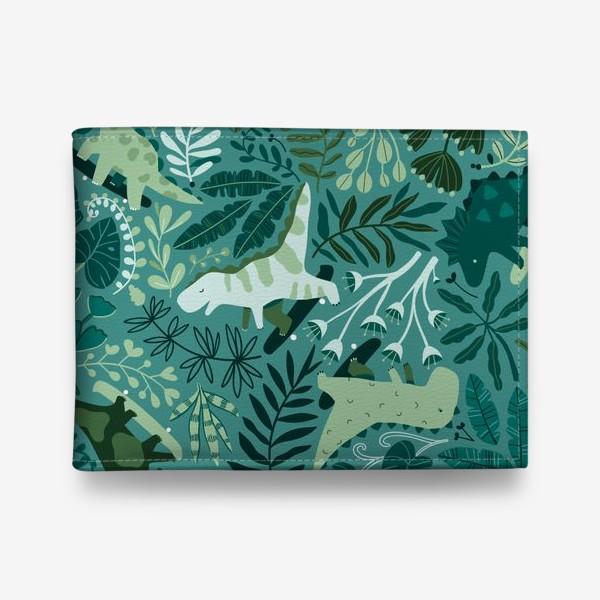 Кошелек «Динозавры на скейтбордах в джунглях. Летний паттрен. Тропические растения, листья монстеры, пальмы.»