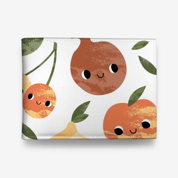 Кошелек «Яблоко, груша, лимон, гранат, слива, вишня. Фруктовый паттерн»