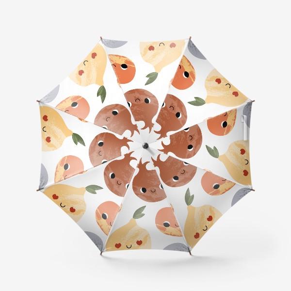 Зонт «Яблоко, груша, лимон, гранат, слива, вишня. Фруктовый паттерн»