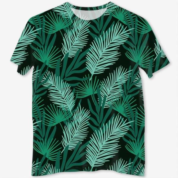 Футболка с полной запечаткой «Тропические листья»