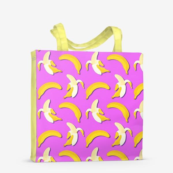 Сумка-шоппер «Желтые бананы на фоне цвета фуксия»