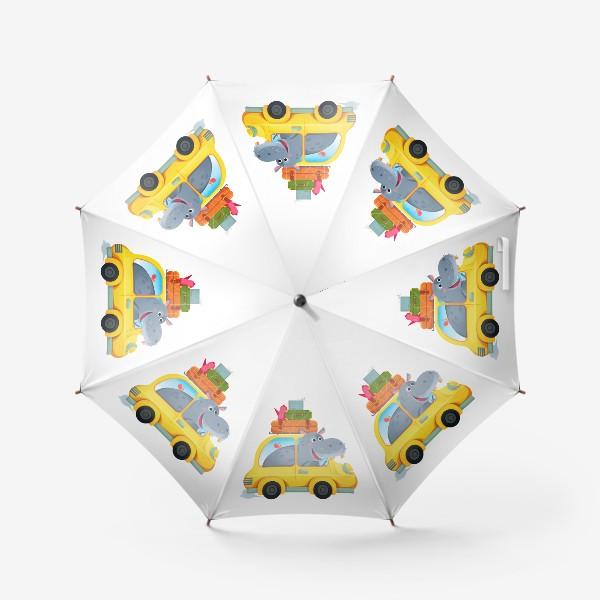 Зонт «Бегемот в желтой смешной машине. Детский мультяшный принт»