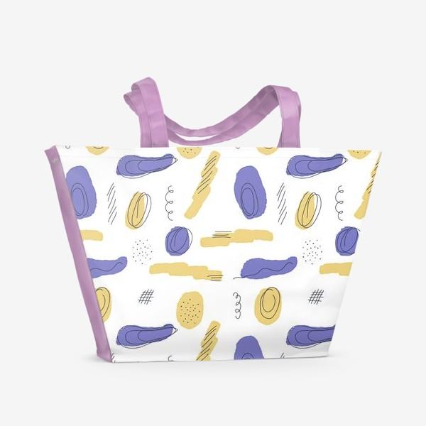 Пляжная сумка «Абстракция круги и полосы, пятна.»