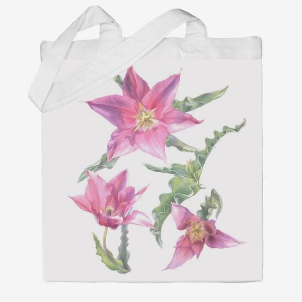Сумка хб «Сиреневые тюльпаны »