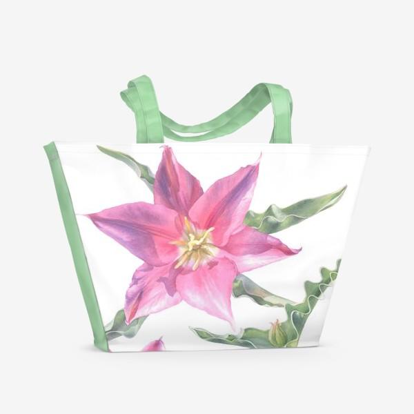 Пляжная сумка «Сиреневые тюльпаны »