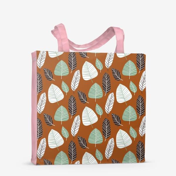 Сумка-шоппер «Теплый природный узор с пестрыми листьями»