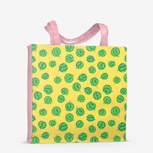 Сумка-шоппер «Свежие полосатые арбузы на желтом»