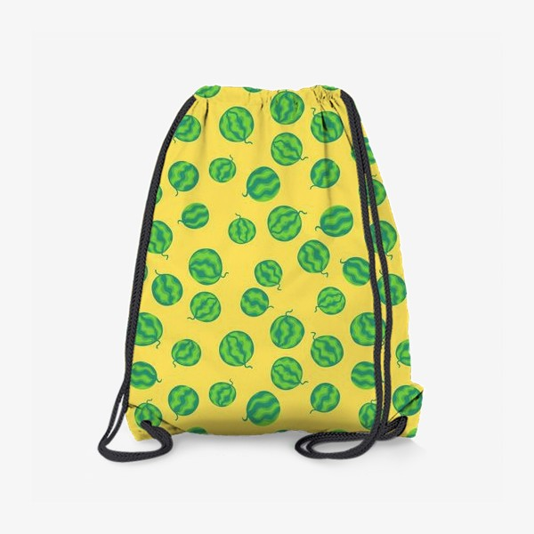 Рюкзак «Свежие полосатые арбузы на желтом»
