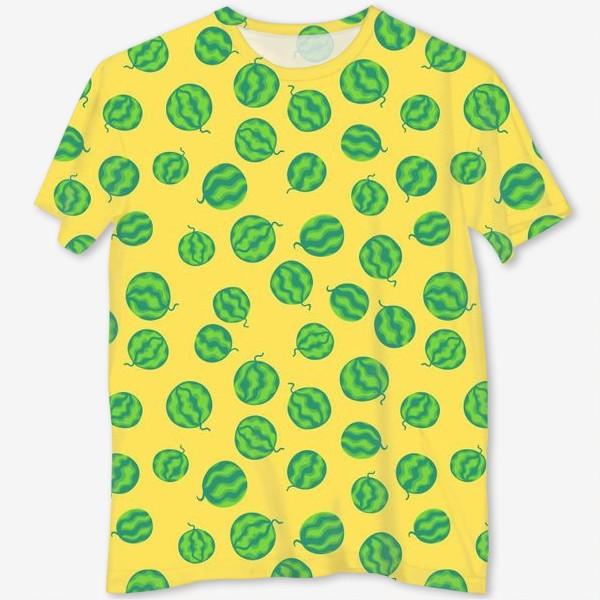 Футболка с полной запечаткой «Свежие полосатые арбузы на желтом»