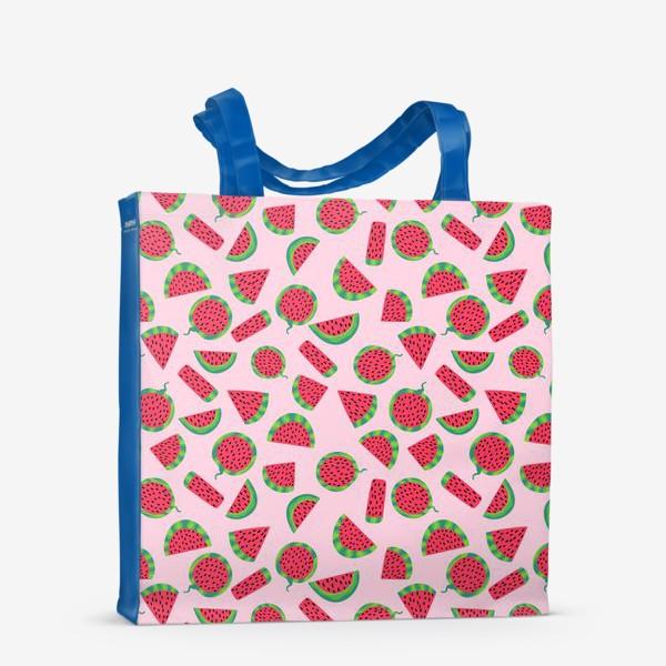Сумка-шоппер «Сочные ломтика арбуза на розовом легкий летний паттерн»