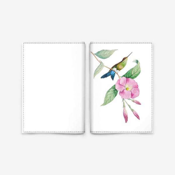 Обложка для паспорта «Колибри с синим хвостом»