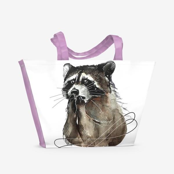 Пляжная сумка «Удивленный енот »