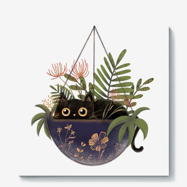 Холст «Кот в цветах »