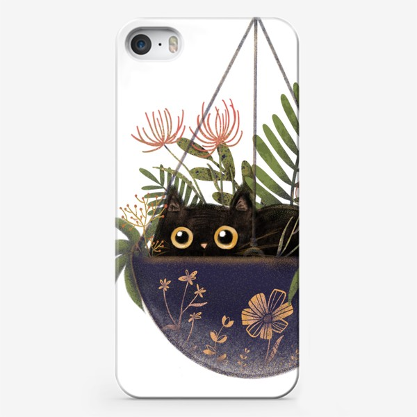 Чехол iPhone «Кот в цветах »