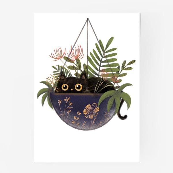 Постер «Кот в цветах »
