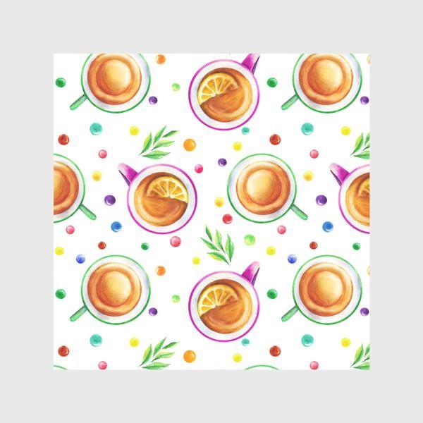Скатерть «Чай с лимоном и цветным драже на белом»