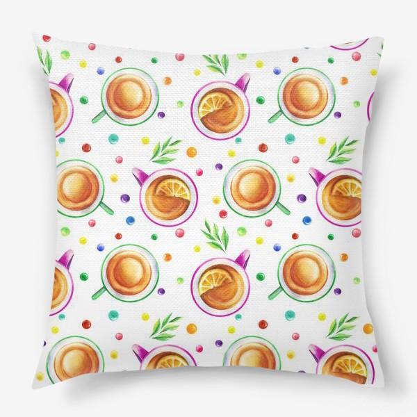 Подушка «Чай с лимоном и цветным драже на белом»