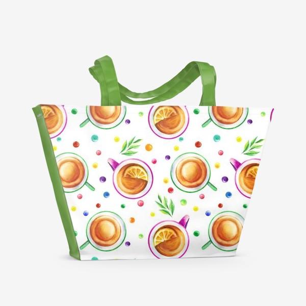 Пляжная сумка «Чай с лимоном и цветным драже на белом»