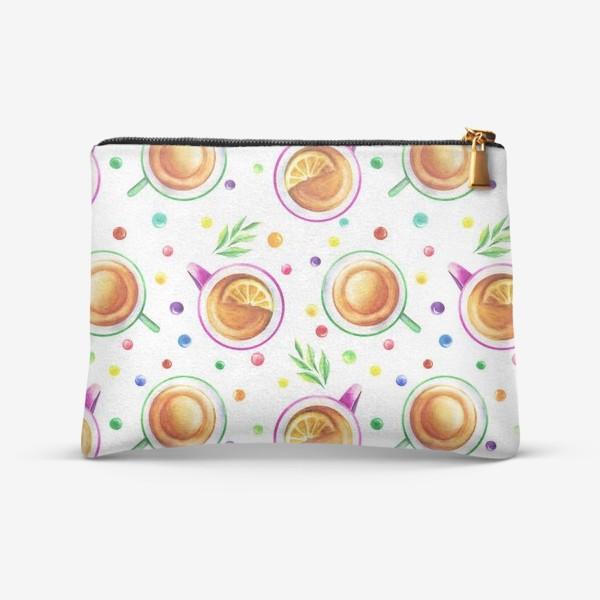Косметичка «Чай с лимоном и цветным драже на белом»