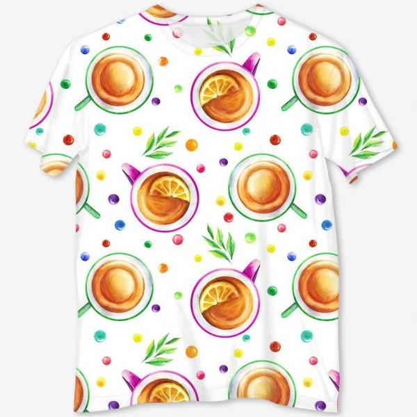 Футболка с полной запечаткой «Чай с лимоном и цветным драже на белом»