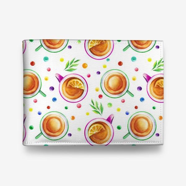 Кошелек «Чай с лимоном и цветным драже на белом»