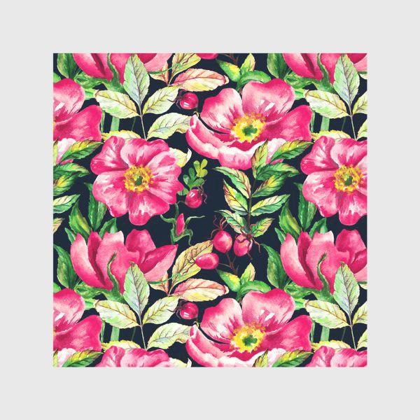 Скатерть «Розовый шиповник и ягоды  на черном»