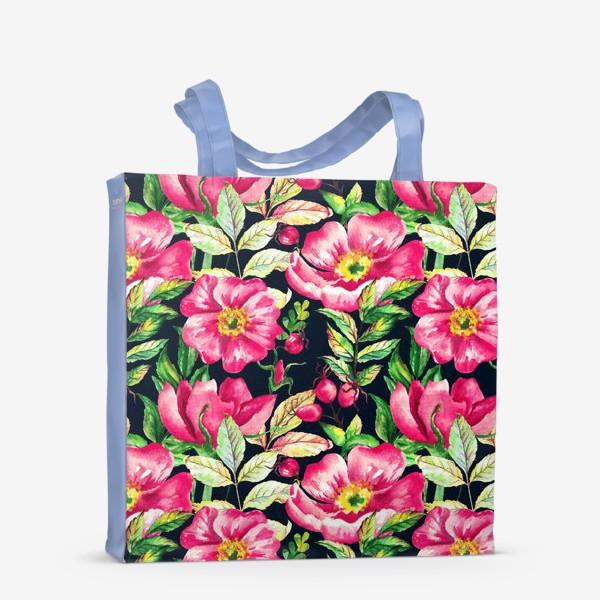 Сумка-шоппер «Розовый шиповник и ягоды  на черном»