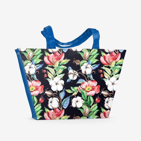 Пляжная сумка «Шиповник и хлопок на черном»