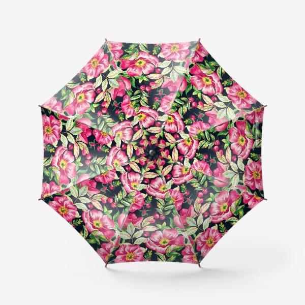 Зонт «Розовый шиповник и ягоды  на черном»