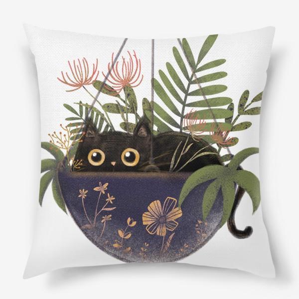 Подушка «Кот в цветах »