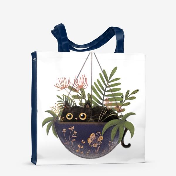 Сумка-шоппер «Кот в цветах »