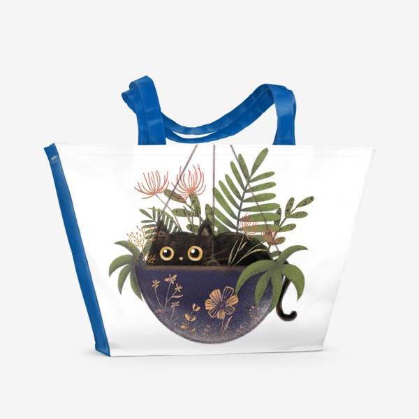Пляжная сумка «Кот в цветах »