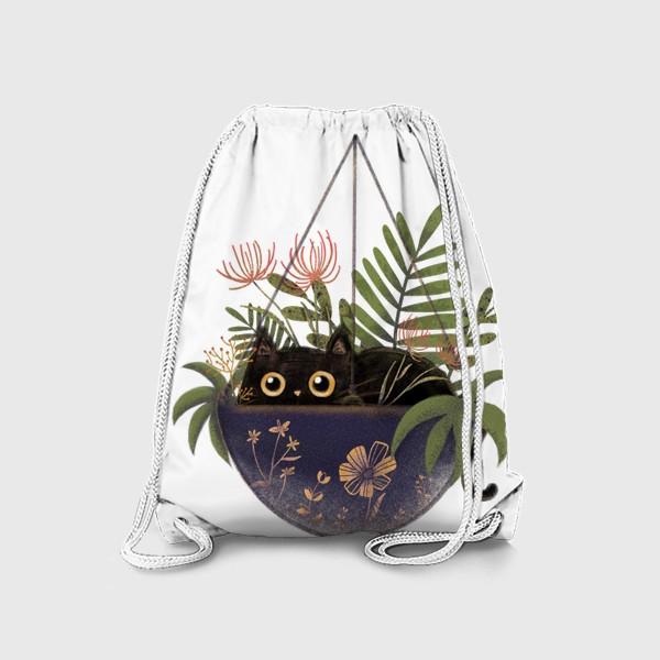 Рюкзак «Кот в цветах »